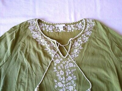 Charter Club Womens Blouse Top 20W Tunic Crinkle Green Embroidered Flowers