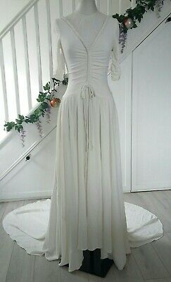 Vintage 1930s Wedding Dress Ivory White Art Deco Rayon Crepe Old Hollywood