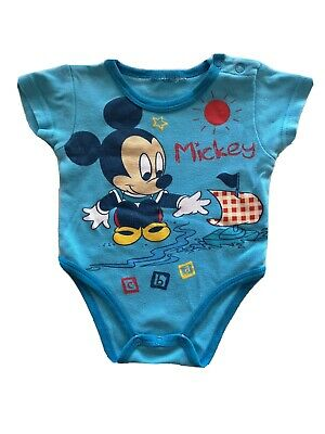 Disney Baby Boy Mickey Mouse Playsuits Body Vest Short Sleeve Age: 0-3 Months