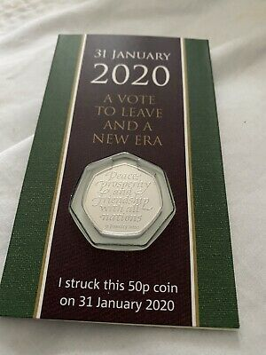 Struck Today UK Brexit 50p Coin Brand New (LEAVE EU 31st January 2020)