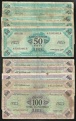 ITALY -  WWII - Allied Military Curr. (AMC) Pair/50 & 100 Lire Notes - 1943A