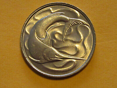1980 Singapore coin 20 cents   SWORDFISH   Uncirculated beauty animal fish nice