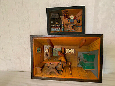 Two Diorama 3D Shadow Boxs - Wood Carved Vintage Primitive Swedish