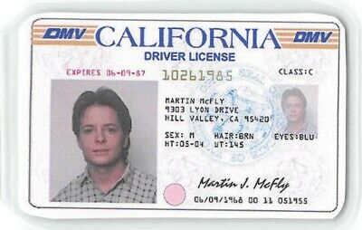 Back To The Future Drivers License Prop Marty McFly > Michael J. Fox