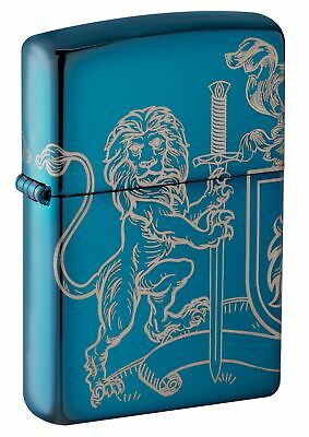 Zippo Medieval Coat of Arms High Polish Blue Windproof Pocket Lighter, 49126