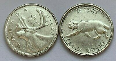 Lot Of 2 Canada Silver 25 Cent Quarter Elizabeth Ii 1962 And 1967 Coins