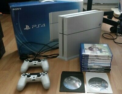 Sony PlayStation 4 500GB Glacier White Console - with 2 controllers + 10 games