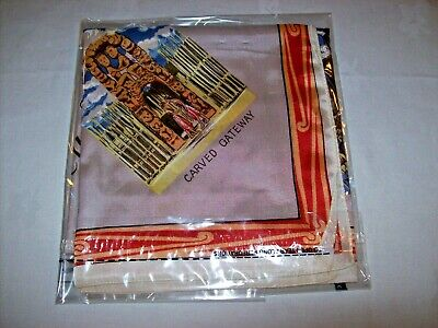 """Lady's Vintage c.1960  scarf from New Zealand -Souvenir Scenes -Acetate? 27"""" Sq."""