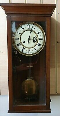 Vintage Wooden Gustav Becker 8 Day Mahogany WWall Clock with Strike