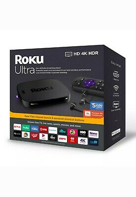Roku Ultra Streaming Media Player 4K HD HDR 2019 w/JBL Headphone 4670RW Open Box