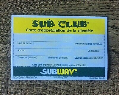 Vintage Subway Restaurant Sub Club Card with Stamps (Canada Quebec French)