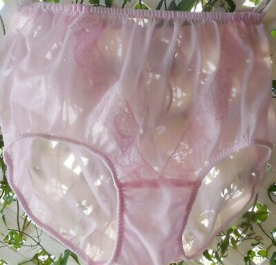 Pink V-Lace See-Thru Acetate Sheer Unlined Crotch Granny Panty Brief M/L