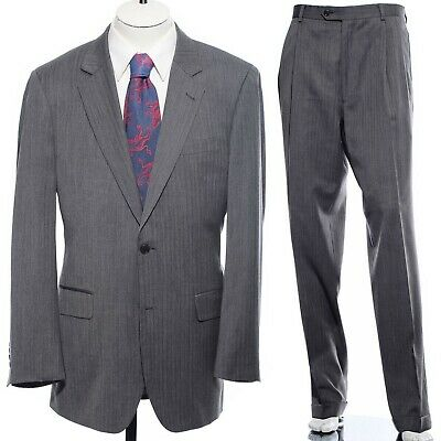40L Long Jos A Bank Gray Tiny Herringbone Wool Two-Piece Suit 34x33 Trousers M