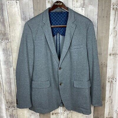 Tasso Elba Men's Size XXL 50-52 Knit Blazer Sport Coat Gray 2 Button