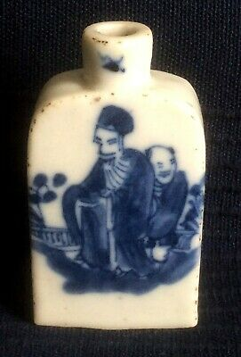 Antique Chinese snuff bottle Blue and white porcelain XIX century [AH182]