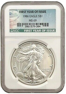 1986  First Year of Issue $1 American Silver Eagle Dollar NGC MS 69