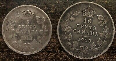 Canada 1913 George V Five Cent & 1903 Edward VII Ten Cent 92.5% Silver