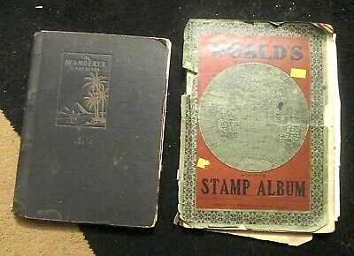 2 x, OLD STAMP ALBUMS WITH some OLDER  WORLD STAMPS approx.1100+ stamps