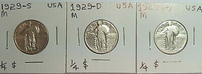 1929 P, D, & S standing liberty quarter silver 25 cents coin(s)