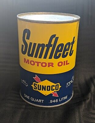 Vintage Sunfleet Motor Oil 1 Quart Metal Can - Unopened Full Can