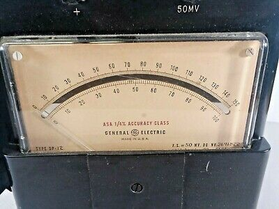 Vtg 1955 General Electric High Accuracy Voltmeter Type DP-12 50 mV Full Scale