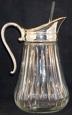 Heavy Ribbed Glass Cocktail Pitcher Silver plate Top & Handle  with Stirrer