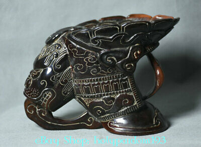 "6"" Old Marked Chinese dynasty Ox Horn Carved Beast Head Handle drink wine Cup"