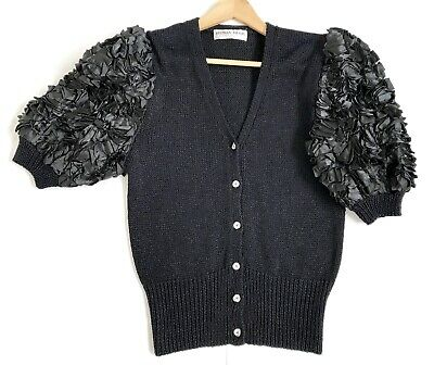 Vintage 1990s Black Knit Cardigan Puff Ribbon Sleeves Crystal Buttons