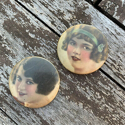 2 Pair Of Vintage 1920s 1930s Celluloid Pin Up Girl Pocket Mirrors