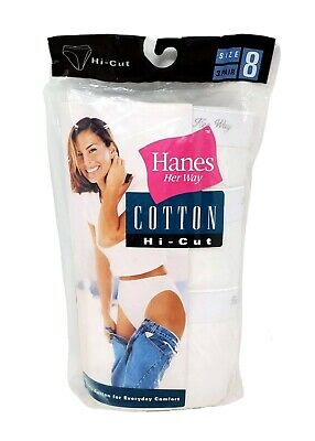 Vtg 1999 Hanes Her Way Hi Cut Womens Cotton 3 Pack Size 8 White Panties Granny