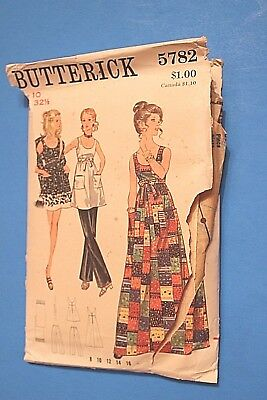 "VTG 1960's-70""s BUTTERICK PATTERN 5782 EVENING DRESS SIZE 10 (Stole pc Missing)"