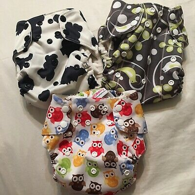 Blueberry Lot Of 3 Deluxe Snap Pocket Cloth Diapers Birds, Cow, Owl Patterns