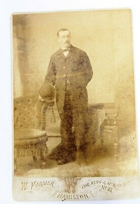 Large 1800s Victorian Cabinet Card Photograph W Farmers of Hamilton