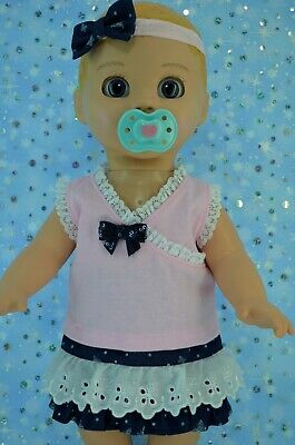 """Play n Wear Dolls Clothes For 17""""Luvabella Doll DENIM/LACE SKIRT~TOP~HEADBAND"""