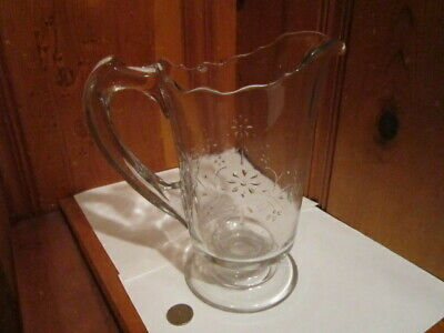 Vintage Clear Glass Footed 1 Quart Pitcher Embossed Leaves Floral Scalloped EUC