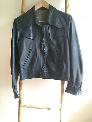 Vintage Blue Leather Biker Jacket Approx Size 12 Incredible Condition 1960s/70s