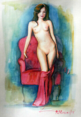 Rafael Plessas, painting, watercolor Nude on red couch 20x30cm signed original