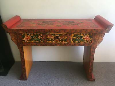 Unique handpainted handmade antique Chinese wooden alter table from Singapore