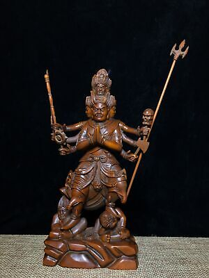 Collect Old Boxwood Hand-Carved Superhuman Powers Buddha Moral Exorcism Statue