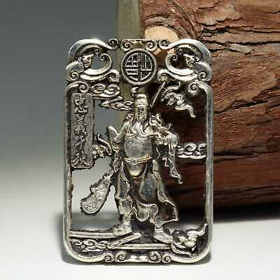 Collectable China Old Miao Silver Hand-Carved Guan Yu Delicate Unique Pendant