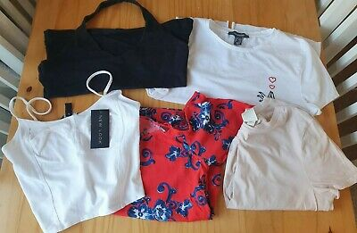 ladies size 10 bundle tops crop tops new look H&M primark ex con x 5