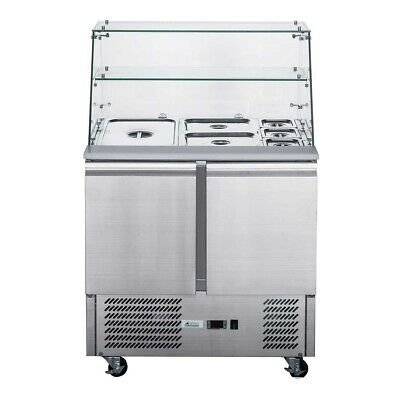 Thermaster FED-X Two Door Salad Prep Fridge with Square Glass Top