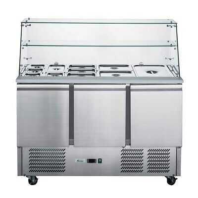 Thermaster FED-X Three Door Salad Prep Fridge with Square Glass Top