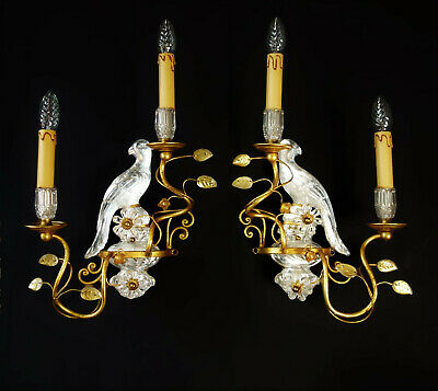 Paar Vogel Wandlampen von Maison Bagues Papagei Wall Lamp Sconces birds