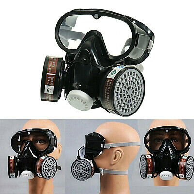 Emergency Respirator Mask Chemical Gas Mask with Goggles Dual & 2 Protection USA