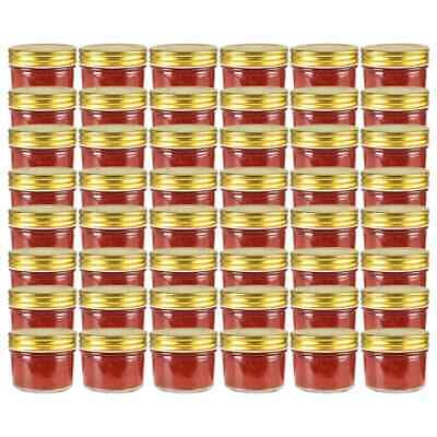 vidaXL 48x Glass Jam Jars with Gold Lid 110ml Clean Preserving Containers