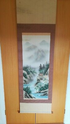 Antique Chinese 19th Century Scroll Watercolour handpainted on silk, Signed