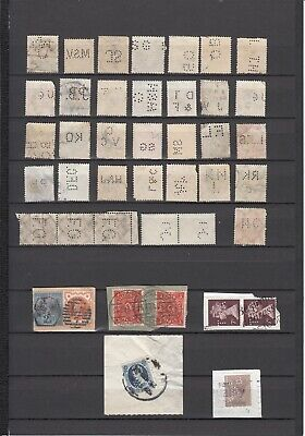 WORLDWIDE PERFIN STAMPS - 40+  GB; Germany; France; etc. unsorted