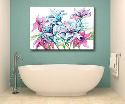 Flower Lily Floral Stretched Canvas Print Framed Home Wall Decor Hanging F124