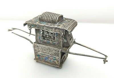 Antique Chinese Solid Silver & Enamel - Miniature Sedan Chair Figure Ornament